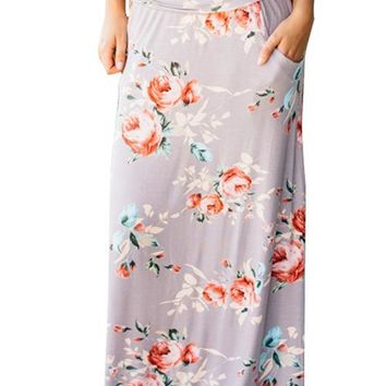 Floral Print Light Grey Skirt Loose Fit With Pockets