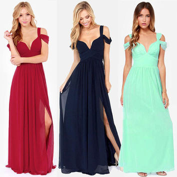 Fashion Strap Deep V-Neck Solid Color Split Chiffon Maxi Dress