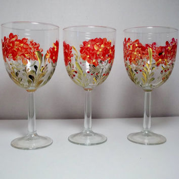 Glass Wine Glasses Geranium Glassware Hand Painted Red Geraniums Garden Style