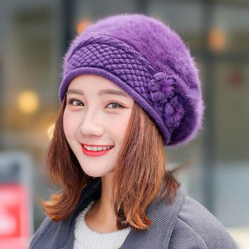 2017 new winter Women beret hat knitted wool angora beret patchwork stylish mink flower decoration cap Double super warm hat
