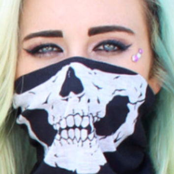 Black Skull Face Bandanna Mask