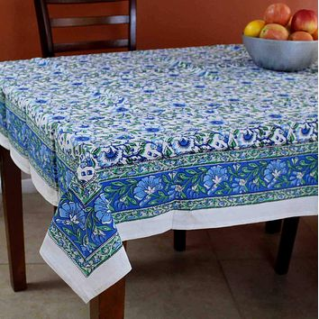 Handmade Hand Block Print 100% Cotton Eternal Floral Vine Tablecloth 60x60 Blue Green