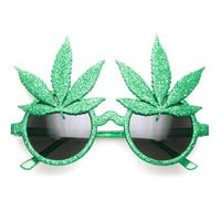 Marijuana Leaf Ganja Bud Pot Weed Fun Novelty Party Sunglasses
