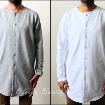 Essential Baseball Round Neck Front Button Jersey Shirt Long Tshirt Oval