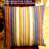 Multicolor vertical lines pillow – Knitting loom cover 20x20