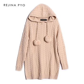REJINAPYO Women Preppy Style Solid Crocheted Hooded Long Sweater Female Oversizedthick Warm Pullover Chic Long Sweater