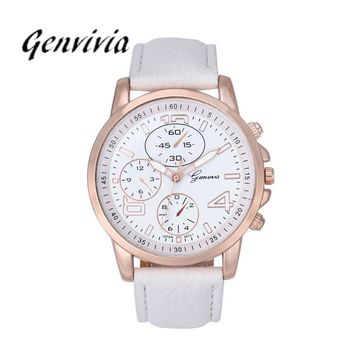 Fashion 2017 Casual Women Faux Leather Analog Quartz Watch Women 10 Colors Genvivia GN Watches Popular Wristwatches