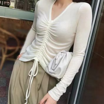 Autumn sexy drawstring pleated long-sleeved bottoming shirt explosion sexy slim knit T-shirt