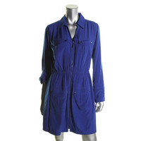 Alfani Womens Zip Front Collared Shirtdress