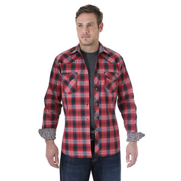 Wrangler 20X Men's Long Sleeve Western Snap Plaid Shirt Red/Black