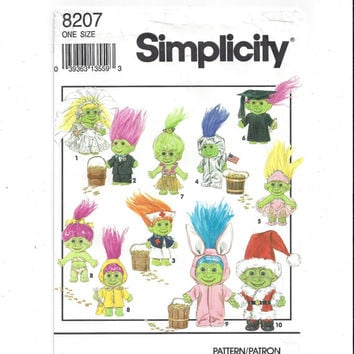 Simplicity 8207 Pattern for Clothes for 6 In. Doll, Elf, Munchkin, Gnome, Troll, From 1992, FACTORY FOLDED, UNCUT, Vintage Pattern, Home Sew