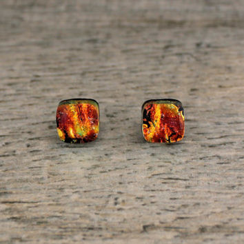 Orange Red Fused Dichroic Glass Stud Earrings, Fused Glass Jewelry, Dichroic Earrings, Dichroic Studs, Dichroic Jewelry