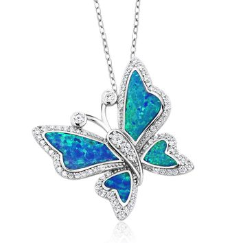Sterling Silver, Butterfly Shaped, Blue Created Opal, Pendant