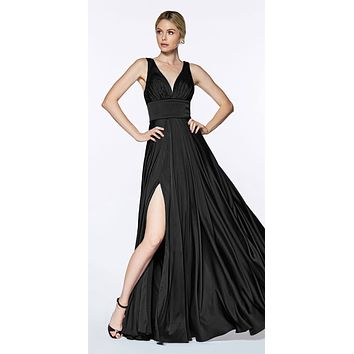 Cinderella Divine 7469 Sexy Long Prom Dress Black Evening Satin Gown
