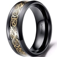 8mm Stainless Steel Carbide Ring Blue Black Silver Carbon Fiber Silver Celtic Dragon Inlay