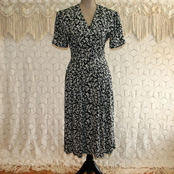 90s Black Floral Dress Rayon Button Up Short Sleeve Petite Small Dress With Pockets Midi Grunge Size 6 Vintage Clothing Womens Clothing