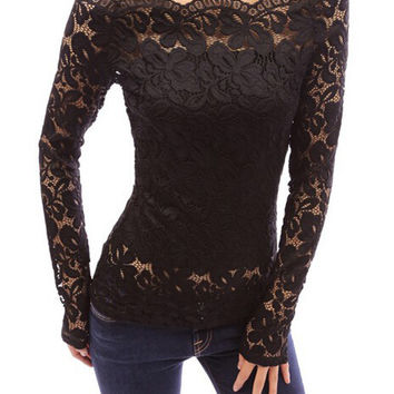 Off Shoulder Lace Long Sleeve Shirt