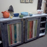 Reclaimed barnwood kitchen island or multi-use cupboard. A colorful addition to any room. It would make a great room divider.