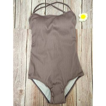 Women's Two Pieces Swimsuit Grey High Neck Sleeveless Wireless Padded Top with Black
