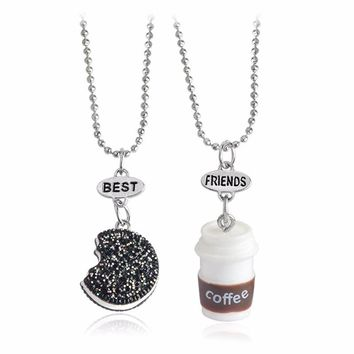 2pcs/set Series Of Small Kawaii Cookie & Coffee Best Friend Miniature Food Necklace Oreo Round Resin Alloy Souvenir Gift Female
