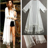 Women Summer Tassels Cover Up Beach Long Shirt Dress Lace Crochet Swimwear Chiffon Clothes