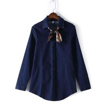 Women's Fashion Long Sleeve Denim Slim Shirt Blouse [4919017348]