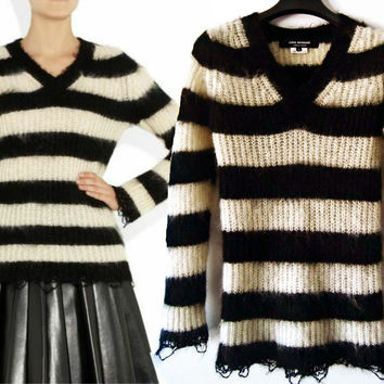 JUNYA WATANABE Striped Sweater with Frayed Details, Small