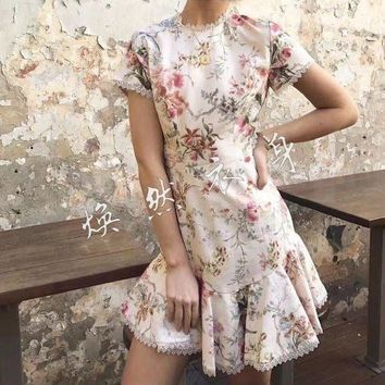 ESBONC. 2017 women's casual clothing catwalk show brand fashion design luxury quality cotton linen printed halter short sleeve dress 617