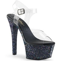 Black Glitter Ankle Strap Sandal With 6 Inch Heels Stripper Shoes