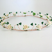 Rustic wedding bridal gold circlet, flower handfasting crown, ivory rose headband, emerald green hair accessory, woodland wedding headpiece