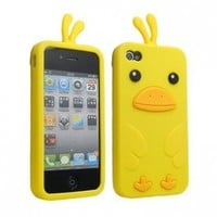 niceEshop Yellow Cute 3D Duck Soft Silicone Gel Case Cover Fit For The iphone 4/4S +Free Screen Protector:Amazon:Cell Phones & Accessories