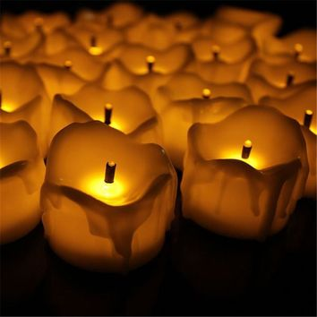 24pcs Flameless Yellow Flicker Tear Wax Drop Candle Mini Battery Operated Tea Lights New Arrive Realistic Led Tea Light Candle