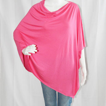 Hot Pink Poncho / Nursing Cover / Nursing Shawl / Breastfeeding Cover / One shoulder Tunic / Boho Poncho top / New Mom Gift