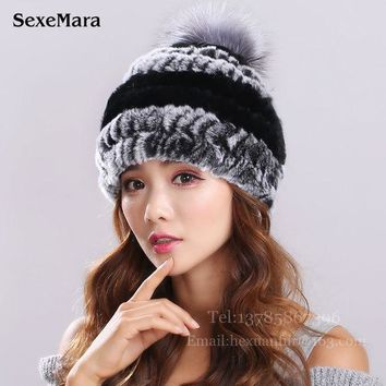 DCCKJG2 New Lovely Real Mink Fur Hat For Women Winter Knitted Mink Fur Beanies Cap With Fox Fur Pom Poms Brand New Thick Female Cap 003
