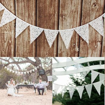12 Flags Wedding Decoration Banners Garland Flower Fabric Lace
