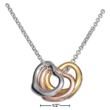 "STERLING SILVER 18"" TRI COLOR TRIPLE FLOATING HEARTS NECKLACE"