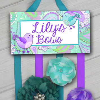 HAIR BOW HOLDER - Personalized Aqua Purple Paisley Birdie HairBow Holder Organizer - Girls Personal Hair Bow and Clip Hanger HB0170