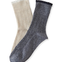 2-Pack Solid Pointelle Ribbed Crew Socks - Aeropostale