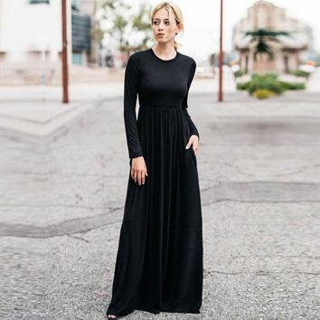 a8b5f8545c1 2019 Casual Elegant Long Maxi Dress Women Solid O-neck Long Sleeve Bodycon Party  Dress