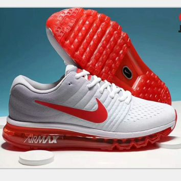 """NIKE"" AirMax Trending Fashion Casual Sports Shoes gray/red soles H-PSXY"