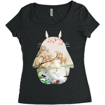 Totoro With Japanese Landscape Women's Triblend Scoop T-shirt