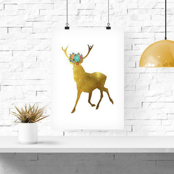 "Gold Deer with Flowers - INSTANT Download PDF 8""x10"" - Printable Floral Deer - boho chic print, Home Decor Deer Printable Gold Glitter"