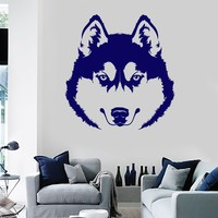 Vinyl Wall Decal Husky Head Dog Pet Stickers Mural Unique Gift (ig3879)