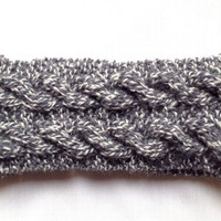 Knitted Double-Cabled Headband / Ear warmer (Grey Goose)