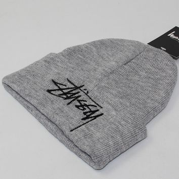 Stussy winter couple students warm hat tide card cold hat Gray