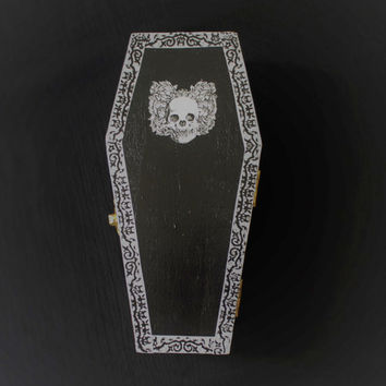 Halloween Goth Skull Coffin Casket Ring Box Jewelry Box Trinket Box In Black