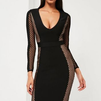 Missguided - Peace + Love Black Fishnet Premium Bandage Midi Dress