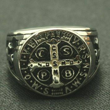Lady style 5 to 10 Size Saint Benedict of Nursia CSPB CSSML NDSMD Christianity Jesus Exorcism 316L Stainless Steel Ring