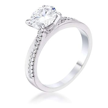 1.4Ct Contemporary Dainty Rhodium Plated Clear CZ Engagement Ring JGI