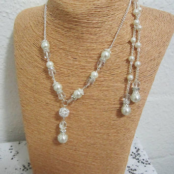 Wedding Jewelry, Back Drop Necklace, Bridesmaid Jewelry, Vintage Necklace, Pearl and Rhinestone Necklace, Bridal Statement
